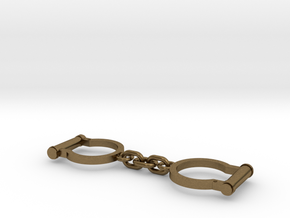 Ned Kelly Gang Outlaw Shackles Handcuffs (tiny) in Natural Bronze (Interlocking Parts)