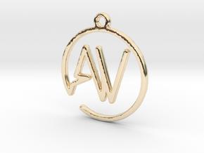 A & V Monogram Pendant in 14k Gold Plated Brass
