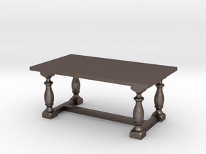 Table, Dining 1:48 in Polished Bronzed Silver Steel