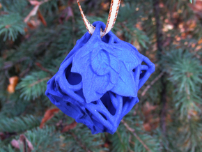Botanical d6 Ornament in Blue Processed Versatile Plastic