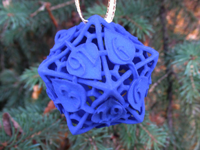Botanical Die20 Ornament in Blue Processed Versatile Plastic