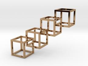 Interlocking Cube Necklace 4 in Polished Brass (Interlocking Parts)
