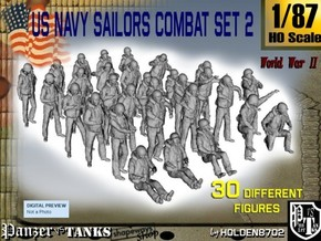 1/87 US Navy Sailors Combat SET 2 in Smooth Fine Detail Plastic