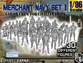 1/96 Merchant Navy Crew Set 1 in Smooth Fine Detail Plastic