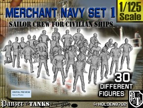 1/125 Merchant Navy Crew Set 1 in Smooth Fine Detail Plastic