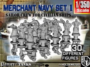 1-350 Merchant Navy Crew Set 1 in Smoothest Fine Detail Plastic