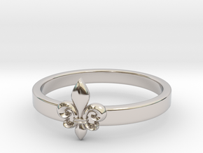 Fleur de lis ring 6 US size (16.5 mm) in Rhodium Plated Brass