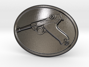 Luger Gun Belt Buckle in Polished Grey Steel