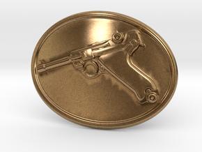 Luger Gun Belt Buckle in Natural Brass