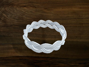 Turk's Head Knot Ring 3 Part X 13 Bight - Size 18 in White Natural Versatile Plastic