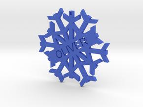 Oliver Snow Flake Christmas Tree Decoration in Blue Processed Versatile Plastic