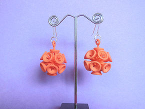 Suckerballs - A pair of 3D printed earrings in Orange Strong & Flexible Polished