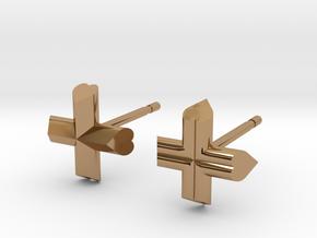 Cross Earrings in Polished Brass