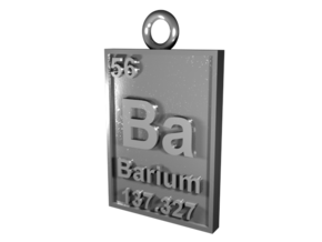 Barium Periodic Table Pendant in Natural Silver