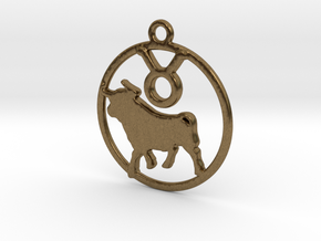 Taurus Zodiac Pendant in Natural Bronze