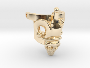 Jester Human Skull Ring Part 1 in 14K Yellow Gold