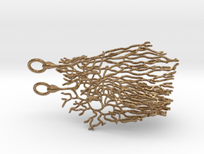 Purkinje Neuron Cell Earrings in Natural Brass