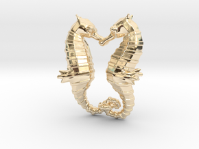 'Hippocampus Love' (Seahorse) LOVE Pendant, Charm in 14K Yellow Gold