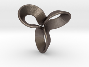 Möbius Clover in Polished Bronzed Silver Steel