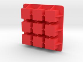 Ice-cube-3x3 in Red Processed Versatile Plastic