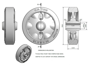 1-6 Adapted Road Stamped Wheel Stuart in White Strong & Flexible Polished