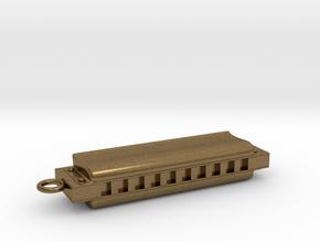 Harmonica Pendant - Metal - Custom text in Natural Bronze