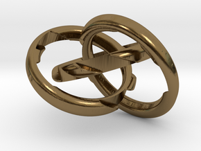 Three Phase Puzzle Ring in Polished Bronze (Interlocking Parts): 6 / 51.5