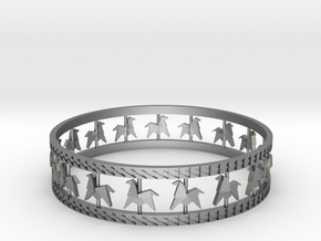 Carousel Band Bangle in Raw Silver: Large