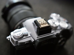 Hot Shoe Cover for Cameras, with Space Invaders in Polished Bronzed Silver Steel