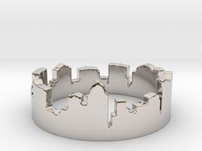 Columbus Night Ohio Ring Size 4 in Rhodium Plated Brass: 4 / 46.5