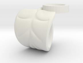 FLEURISSANT - Leaf ring #3 in White Natural Versatile Plastic
