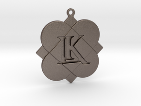 Custom Logo Keychain Pendant in Polished Bronzed Silver Steel