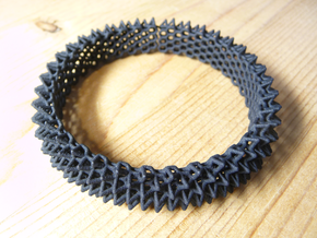 Spikey Bangle 1 in Black Natural Versatile Plastic