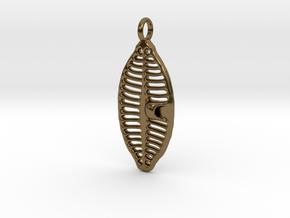 Planothidium Diatom pendant - Science Jewelry in Polished Bronze