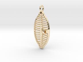 Planothidium Diatom pendant - Science Jewelry in 14K Yellow Gold