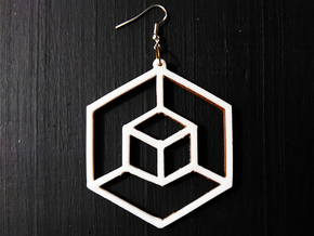 Planar Cube Earring in White Natural Versatile Plastic