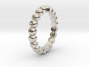 """Stackable """"Bubbles"""" Ring in Rhodium Plated Brass: 5 / 49"""
