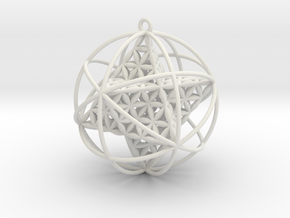 Flower Of Life Planetary Merkaba Large in White Natural Versatile Plastic