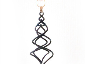 Earring_Spiral_Ito in Black Natural Versatile Plastic