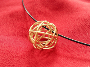 Woven Globe Pendant in Natural Brass