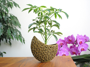 A burgeoning capsule Planter with large Pot in White Strong & Flexible