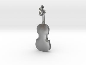 Violin Pendant in Natural Silver