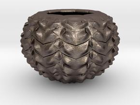 Hard Shred Cup/Vase/Sculpture in Polished Bronzed Silver Steel