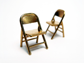 1:48 Miniature Pair of Folding Chairs in Natural Brass