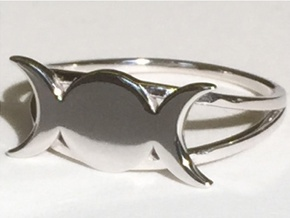 Triple Moon Ring (customize) in Rhodium Plated