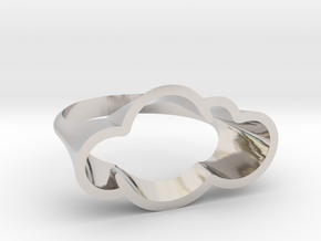 Cloud Ring, Every Cloud has a Silver Lining in Rhodium Plated Brass: 8 / 56.75