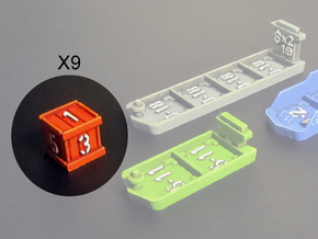 Dice / Crates (9 pcs) in Red Strong & Flexible Polished