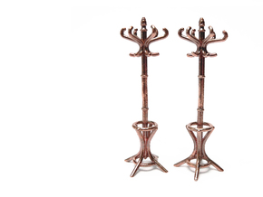 Pair of 1:48 Metal Hatstands in Raw Bronze