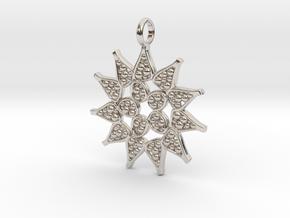 Pediastrum Algae pendant - Science Jewelry in Rhodium Plated Brass