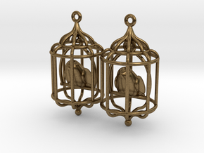 Bird in a Cage 02 in Natural Bronze (Interlocking Parts)